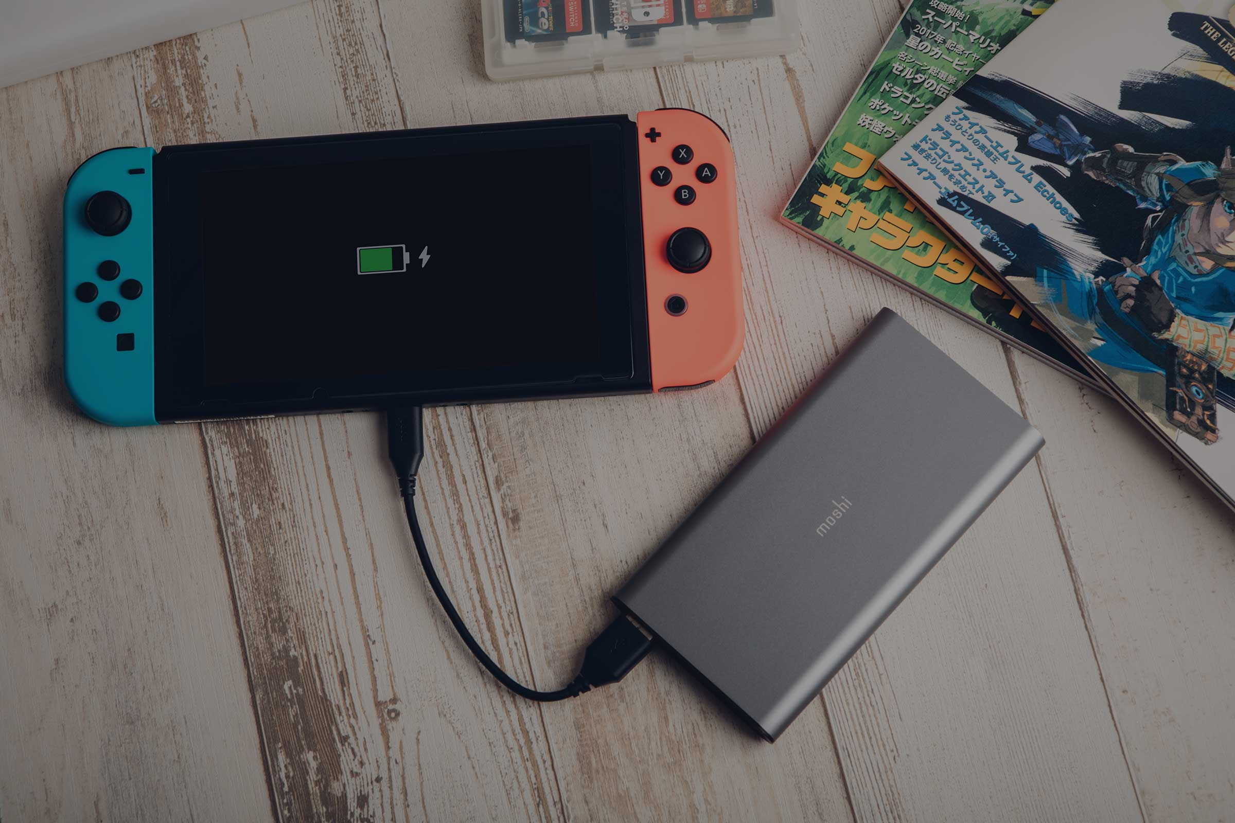 Moshi's IonSlim 10K powering up a Nintendo Switch.