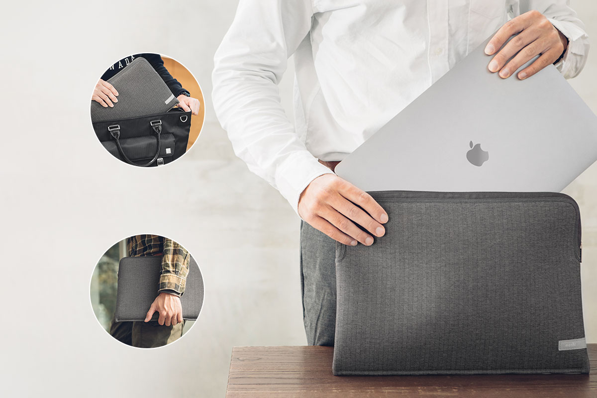A photo of a guy carrying the Pluma Laptop Sleeve for MacBook Pro 16 under his arm and then sliding it into his bag.