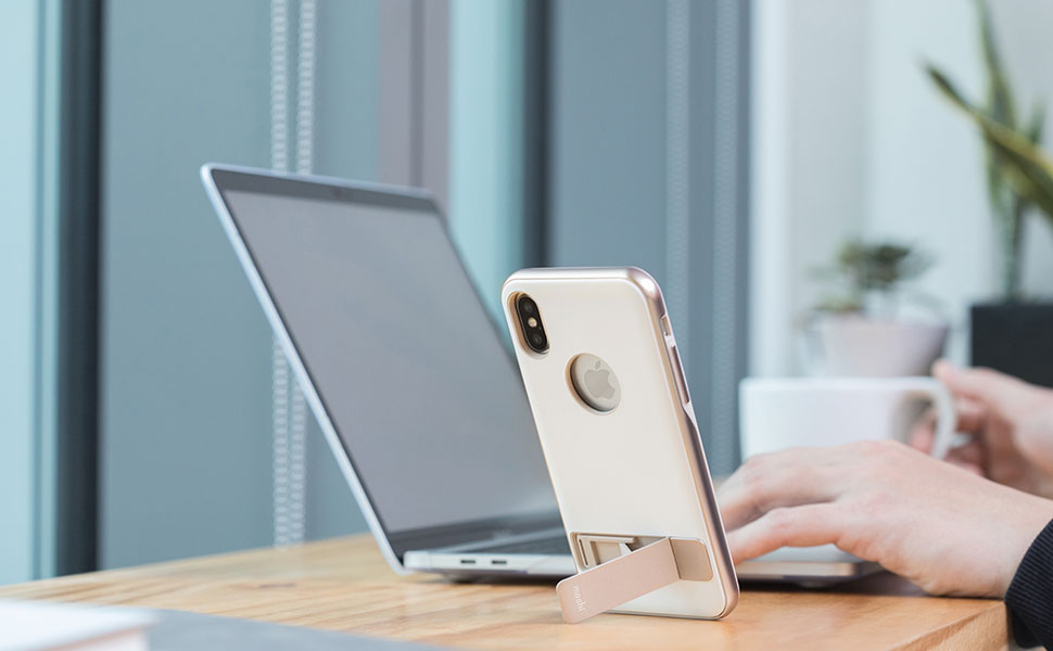 A sophisticated kickstand case for iPhone X that provides hands-free video viewing and protects your iPhone in style.