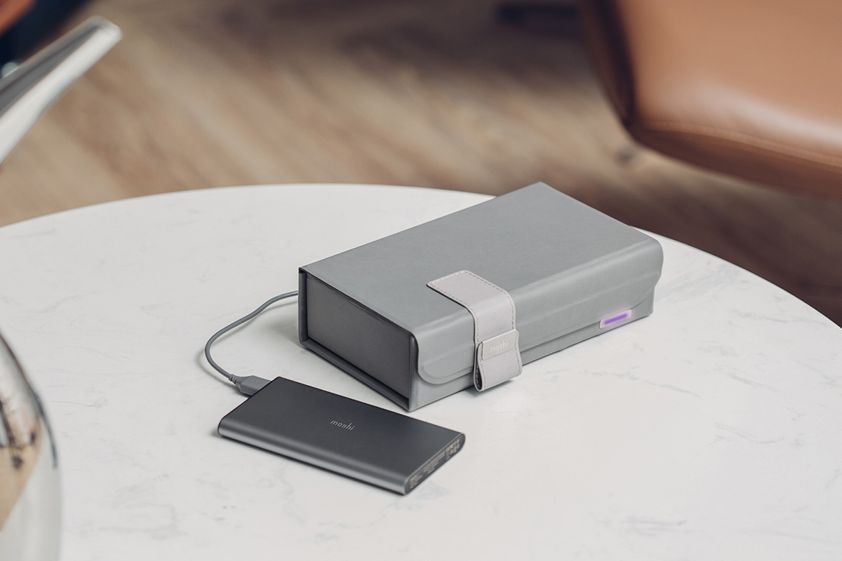 Not only does Deep Purple fold flat to go with you anywhere, the versatile USB-C power input allows for convenient power sources depending on your location. Using the included USB cable, Deep Purple can be powered by a wall adapter, car charger, or portable battery to give you ultimate cleaning freedom in coffee shops, parks, hotels, and everywhere in between.
