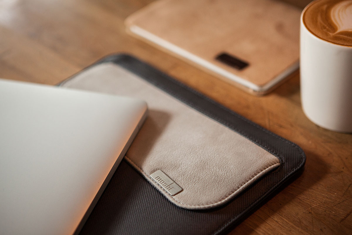"Muse holds up to a 13"" iPad in the main sleeve, with an additional outer pocket for adapters, cables, and Apple Pencil."