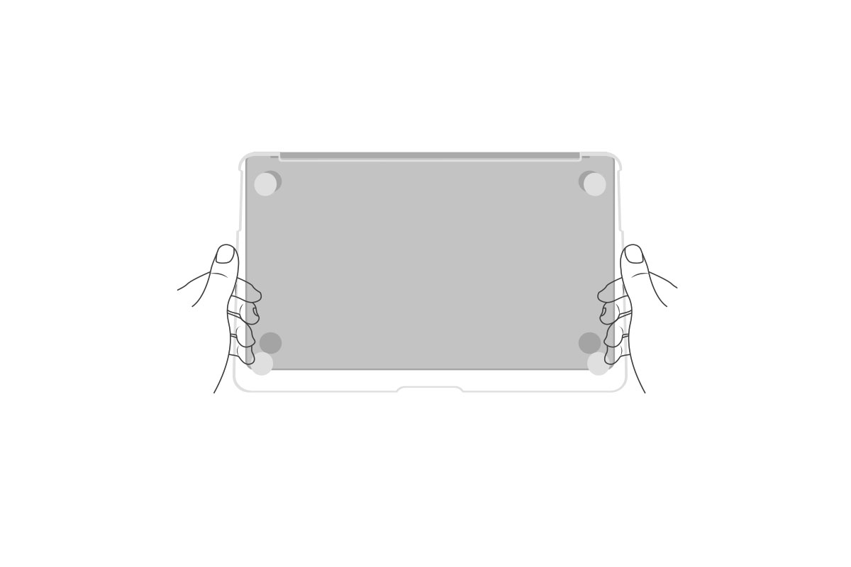 Be sure to align the bottom cover with the ventilation cutout towards the rear of the MacBook.
