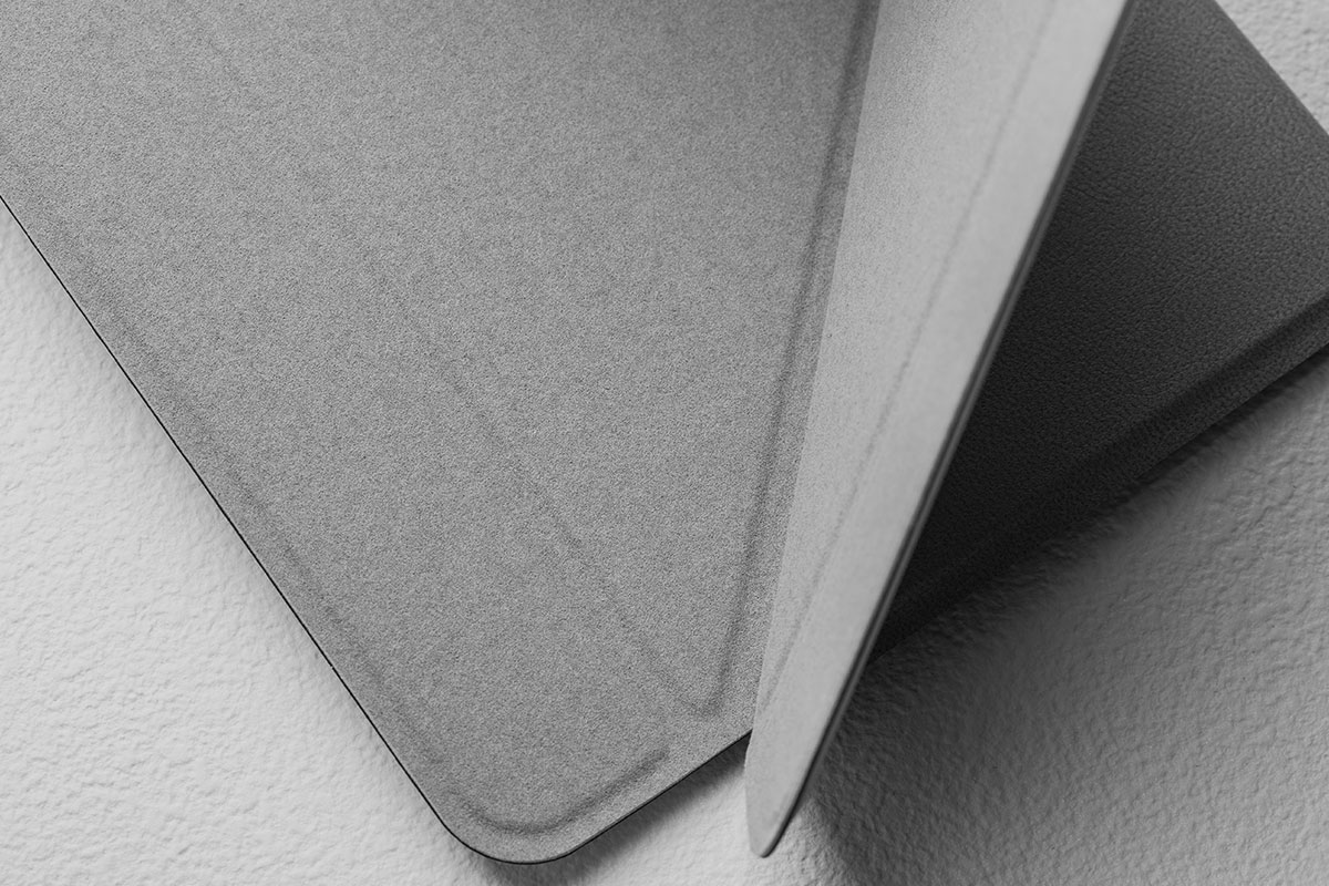 Close up of Moshi's VersaCover for iPad and its unique microfiber-lined folding cover.