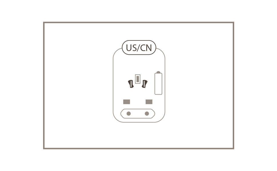 The Moshi World Travel Adapter with USB-C port slider in its original orientation