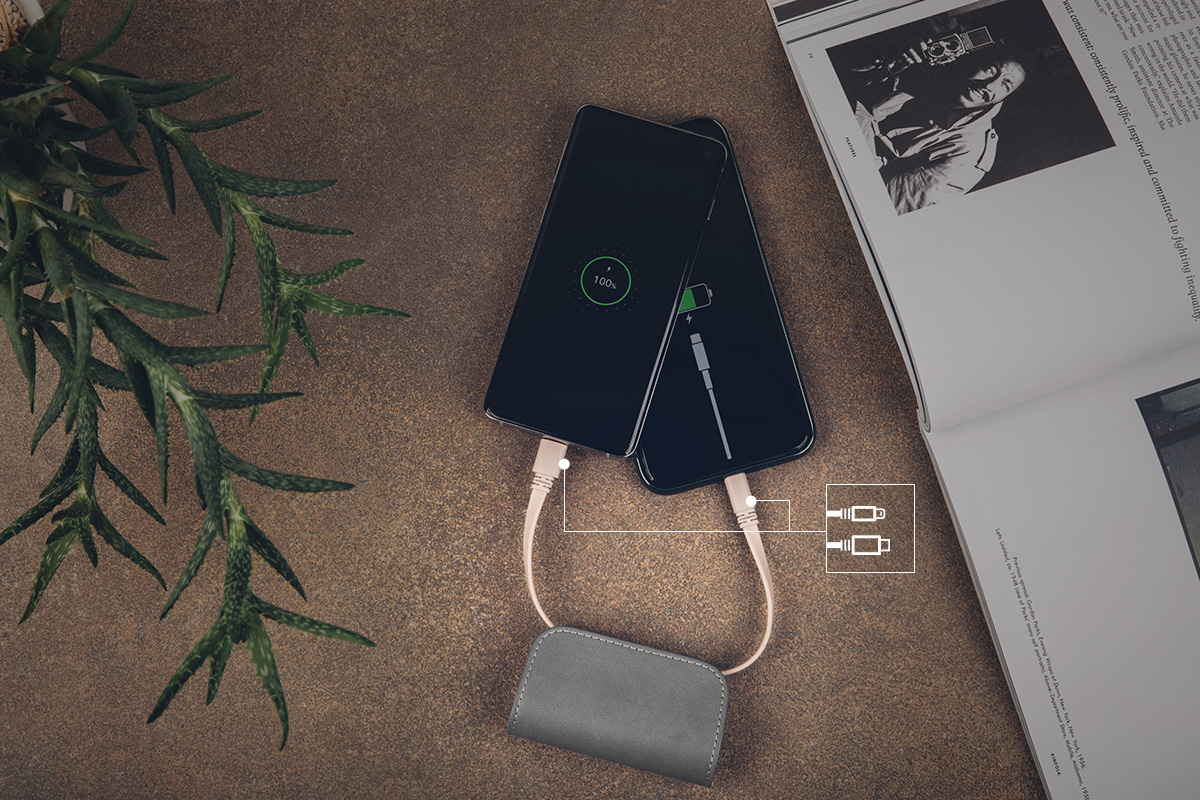 With cables built into the battery, you're always prepared to power up wherever you go.